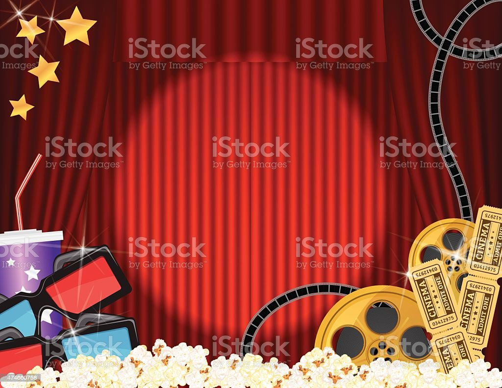 Movie Night And Snacks Horizontal Template With Red Curtains Background Royalty Free