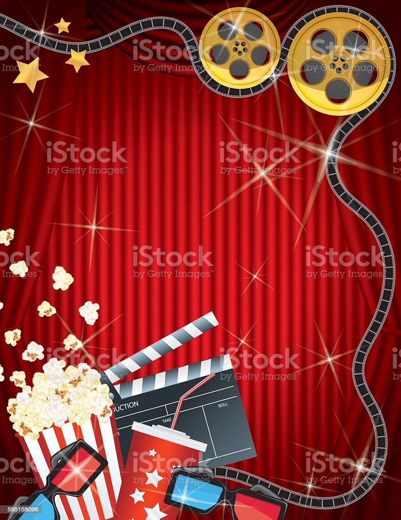 Movie Night Background Black Curtain and Film vector art illustration
