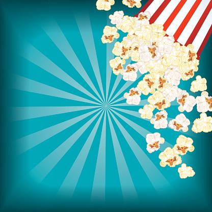Movie Night Background With Popcorn