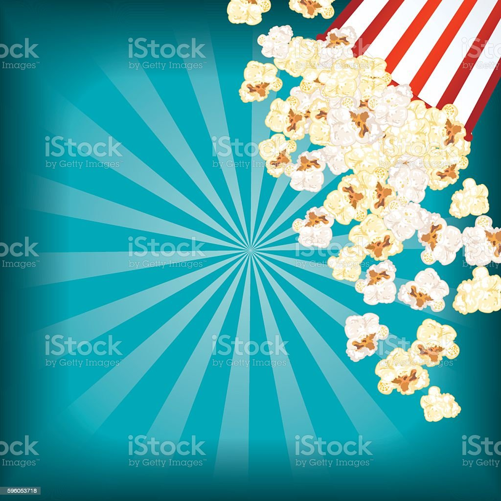 Movie Night Background With Popcorn vector art illustration