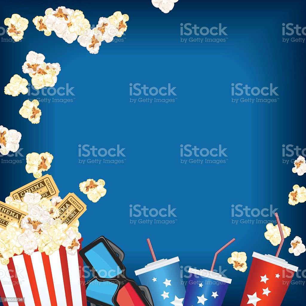 Movie Night Background With Popcorn royalty-free movie night background with popcorn stock vector art & more images of 3-d glasses