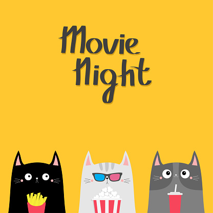 Movie night. Cat set. Popcorn, soda, french fries. Cinema theater. Cute cartoon funny character. Film show. Kitten in 3D glasses. Kids print for notebook cover. Yellow background. Flat design