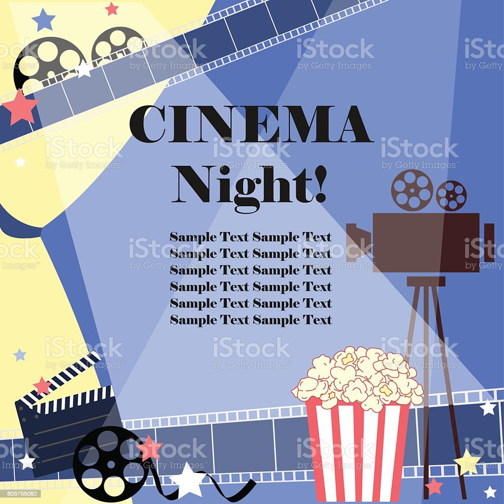 Movie night. Flat vector with cinema attributes.