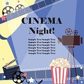 Movie night. Flat vector with cinema attributes.