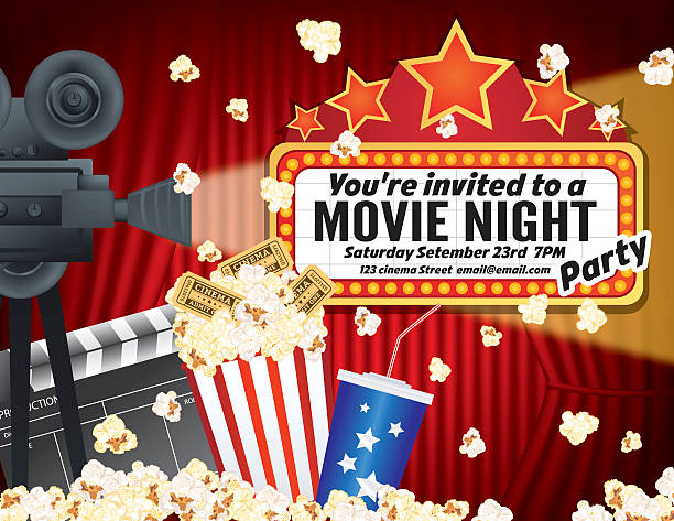 stockillustraties, clipart, cartoons en iconen met movie night party background with curtain and popcorn - photography curtains