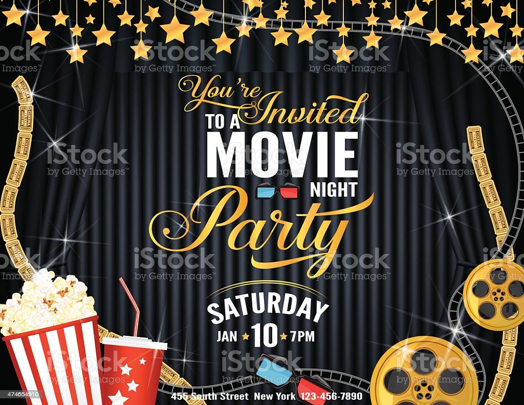 Movie Night Party Horizontal Invitation Template with black Curtains Background