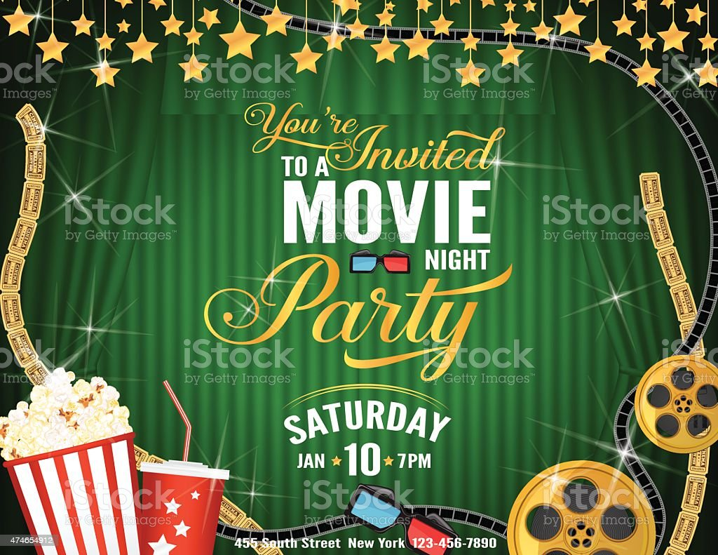 Movie Night Party Horizontal Invitation Template With Green Curtains
