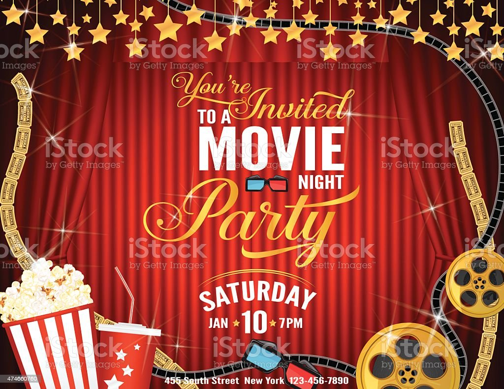 Movie Night Party Horizontal Invitation Template With Red Curtains ...