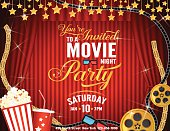 Movie Night Party Horizontal Invitation Template with Red Curtains Background
