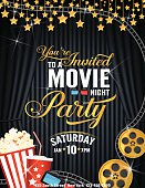 Movie Night Party Invitation Template With Black Curtain and Film