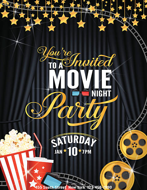 stockillustraties, clipart, cartoons en iconen met movie night party invitation template with black curtain and film - photography curtains