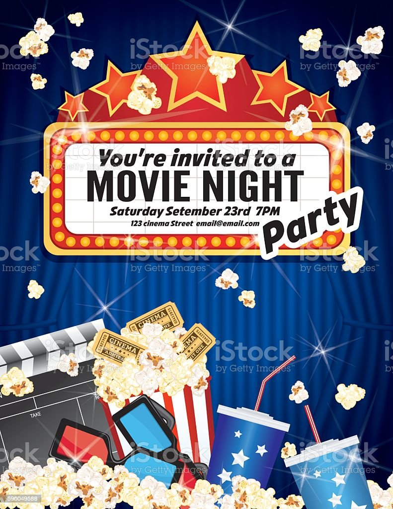 movie night party invitation template with curtain and film 3dの