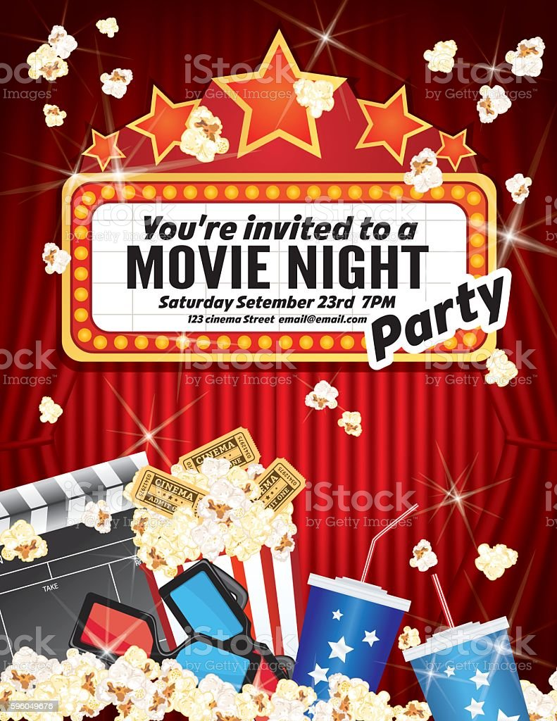 Movie Night Party Invitation Template With Curtain And Film ...