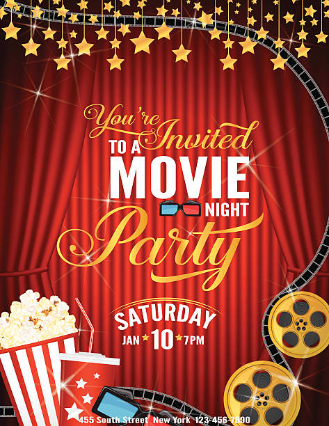 stockillustraties, clipart, cartoons en iconen met movie night party invitation template with red curtain and film - photography curtains