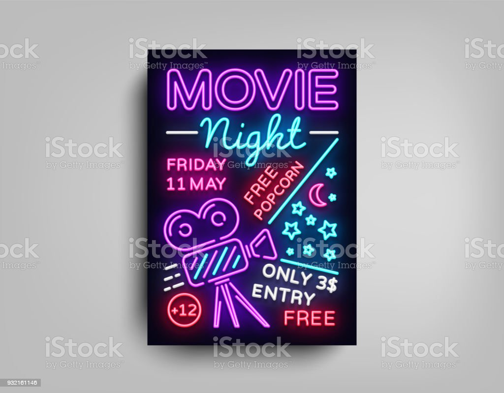 Movie Night Poster Design Template In Neon Style Sign Light Banner Bright