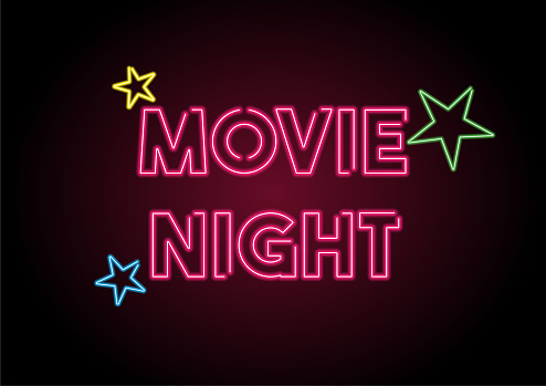 Movie Night Red Neon Light On Black Wall