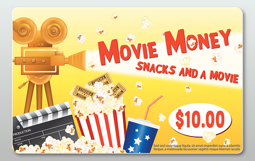 Movie Night Theatre Gift Card Template - Popcorn, Soda, Slate