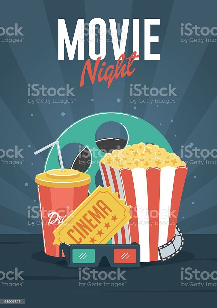 Movie Night vector art illustration