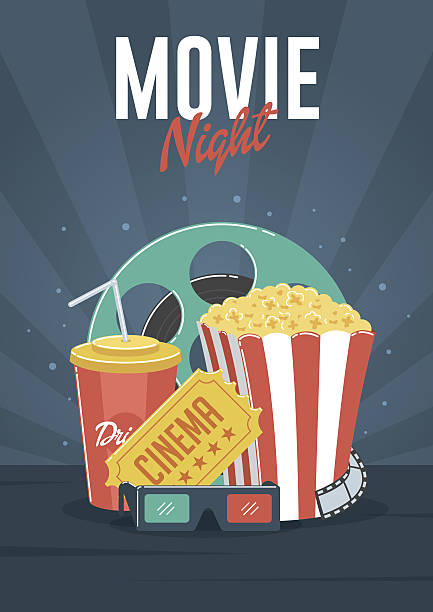 Movie Night Can be used for flyer, poster, banner, ad, and website background. nightlife stock illustrations