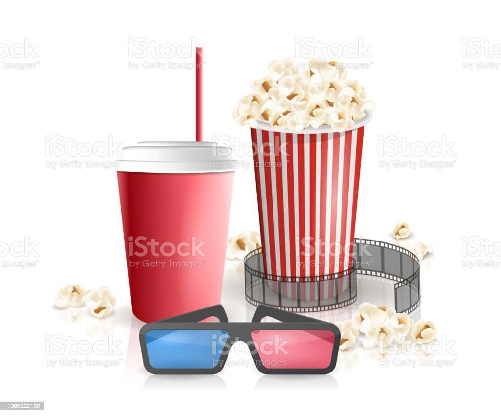 Movie Objects Popcorn Soda Takeaway 3d Cinema Glasses Cinema