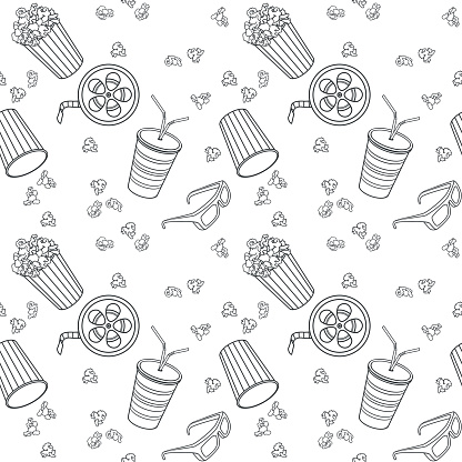 Movie objects seamless pattern. Popcorn, movie theater glasses, a reel of film, carbonated drink. Cinema theme doodle contour.