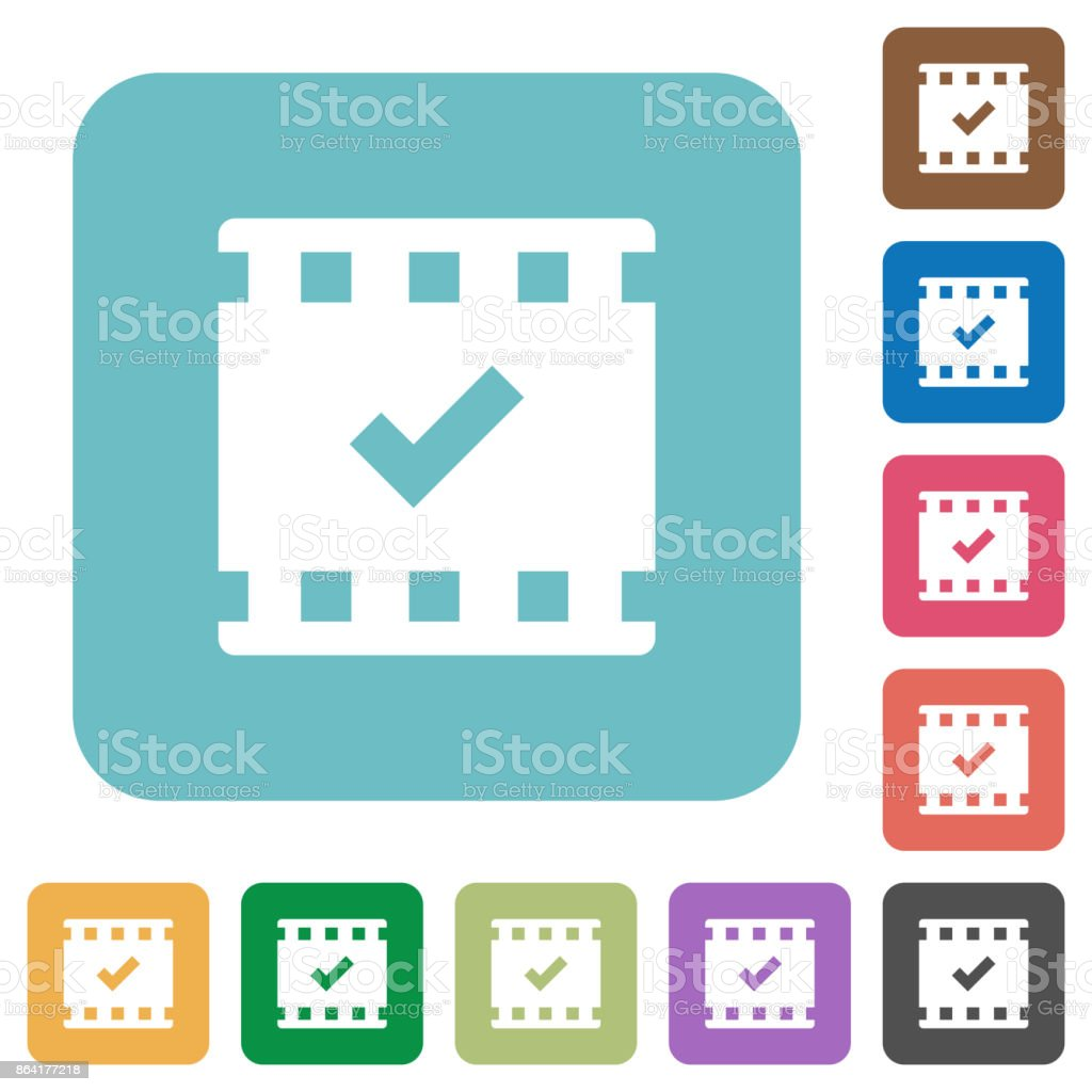 Movie ok rounded square flat icons royalty-free movie ok rounded square flat icons stock vector art & more images of applying