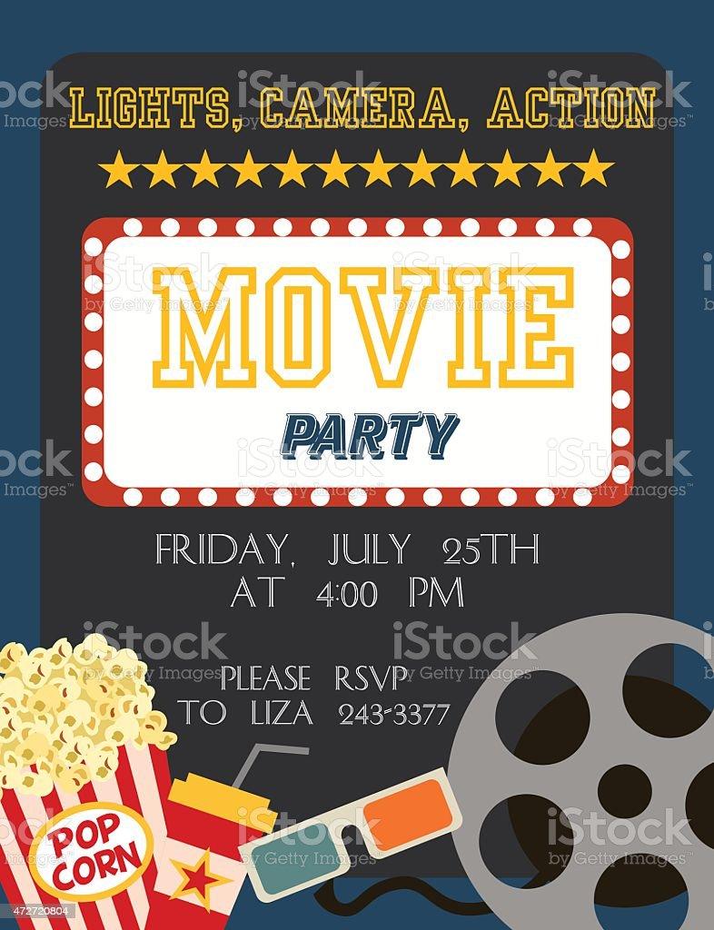 Movie party vector art illustration