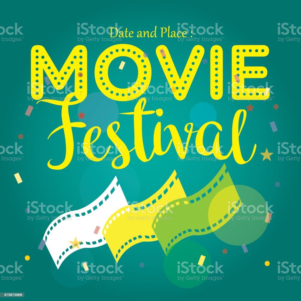 movie poster event for festival event, banner, brochure, flyer, template with date and place space. vector illustration royalty-free movie poster event for festival event banner brochure flyer template with date and place space vector illustration stock vector art & more images of 1950-1959