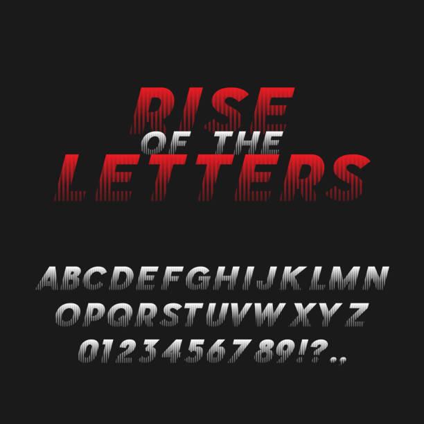 illustrazioni stock, clip art, cartoni animati e icone di tendenza di movie poster style bold italic font. typeface - thriller