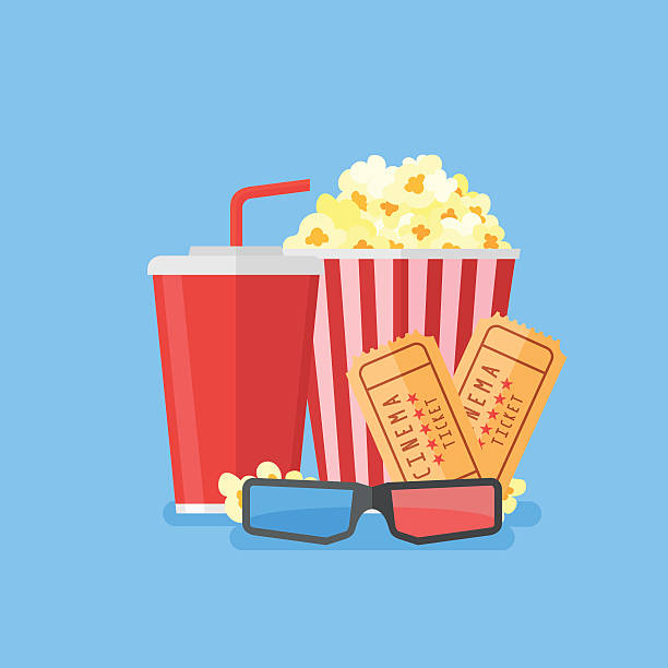stockillustraties, clipart, cartoons en iconen met movie poster template. cinema design in flat style. - popcorn