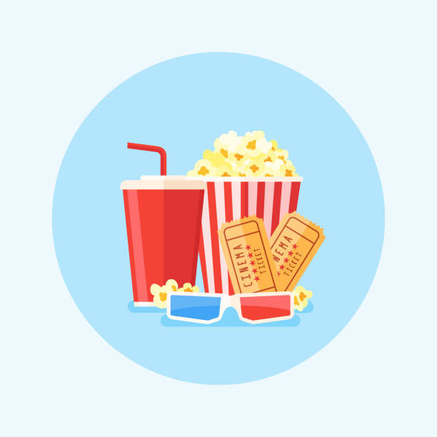 Movie poster template with popcorn bucket, soda, tickets and 3D glasses. Vector illustration. vector art illustration