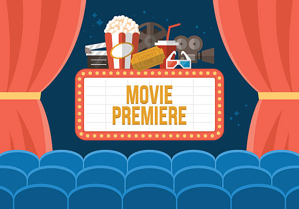 Movie premiere poster deisgn with cinema curtains, seats and sign Movie premiere poster deisgn with cinema curtains, seats and sign. Flat stylish vector illustration premiere event stock illustrations