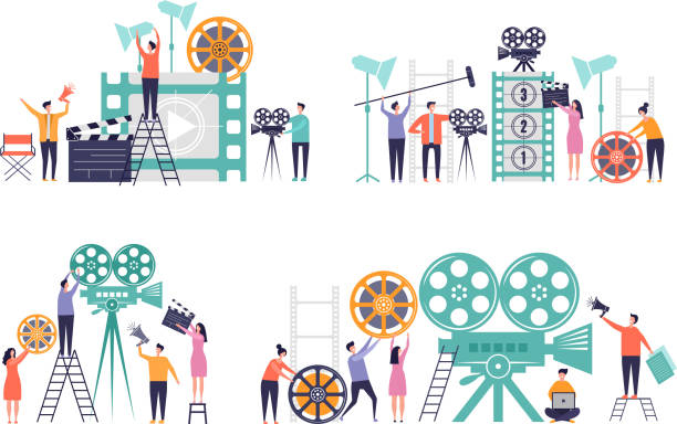 movie production concept. flat characters making films video camera clapboard filming person vector colored backgrounds - wykonać stock illustrations