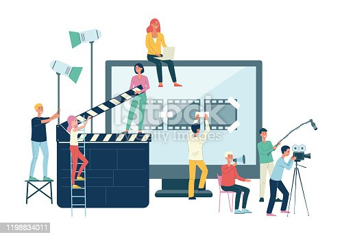 Movie production crew banner - cartoon people with giant cinema equipment at video shoot. Filming, recording and editing a film - isolated flat vector illustration.