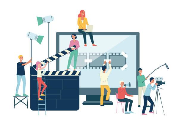 bildbanksillustrationer, clip art samt tecknat material och ikoner med filmproduktion crew banner-cartoon människor med giant cinema equipment - industri