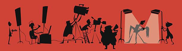 stockillustraties, clipart, cartoons en iconen met movie production unit - acteur