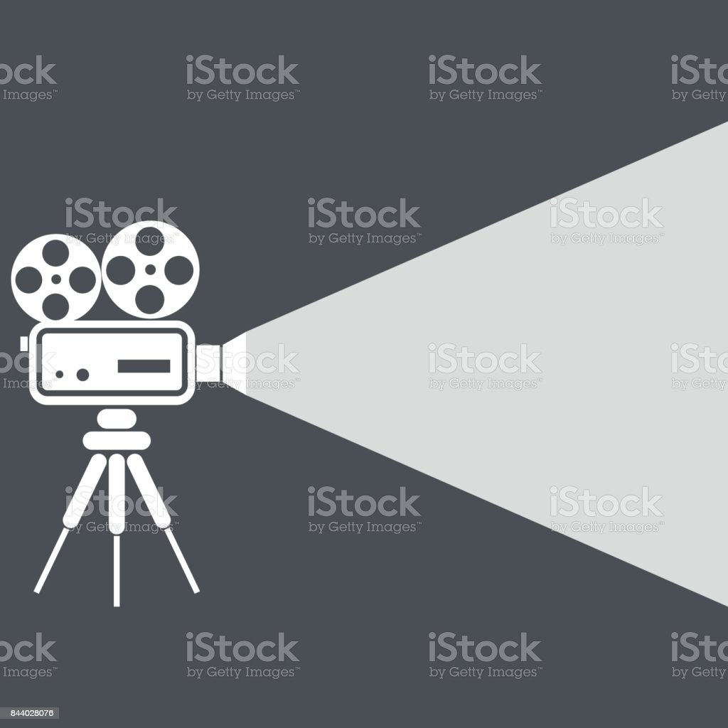 Movie projector icon vector art illustration