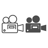 Movie projector line and solid icon. Cinema camera silhouette symbol, outline style pictogram on white background. Multimedia sign for mobile concept and web design. Vector graphics