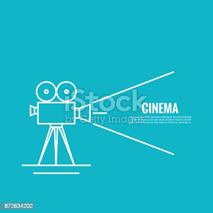 Movie projector vector illustration.  Cinematic Old  camera with reel. Linear icon. For annonce films. vintage poster.