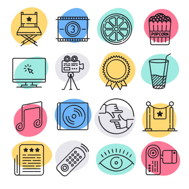 Movie Recommendation System Doodle Style Vector Icon Set Modern movie recommendation system doodle style concept outline symbols. Line vector icon sets for infographics and web designs. hobbies stock illustrations