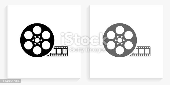 Movie Reel Black and White Square Icon. This 100% royalty free vector illustration is featuring the square button with a drop shadow and the main icon is depicted in black and in grey for a roll-over effect.