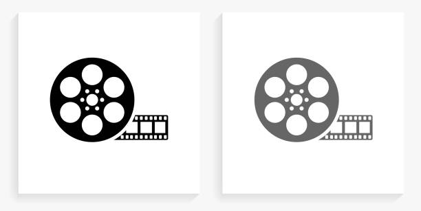 Movie Reel Black and White Square Icon vector art illustration