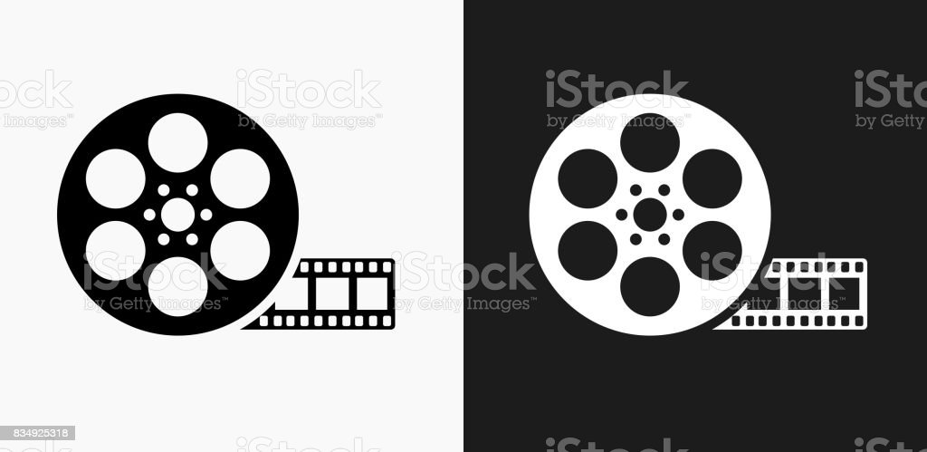Movie Reel Icon on Black and White Vector Backgrounds vector art illustration