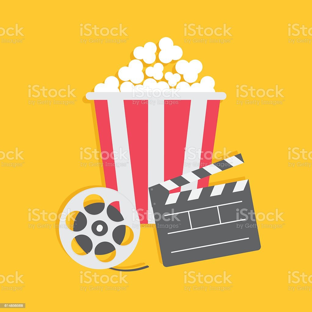 Movie reel Open clapper board Popcorn Cinema icon set. vector art illustration