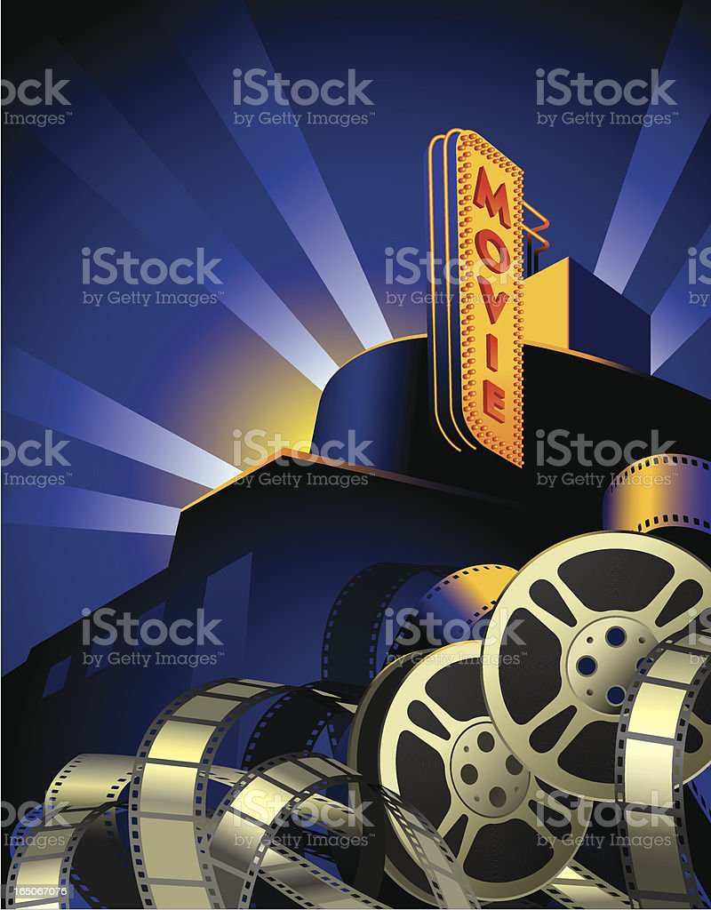 Movie Reels, Film Stripes and Art Deco Movie Theater Vector royalty-free movie reels film stripes and art deco movie theater vector stock vector art & more images of arts culture and entertainment
