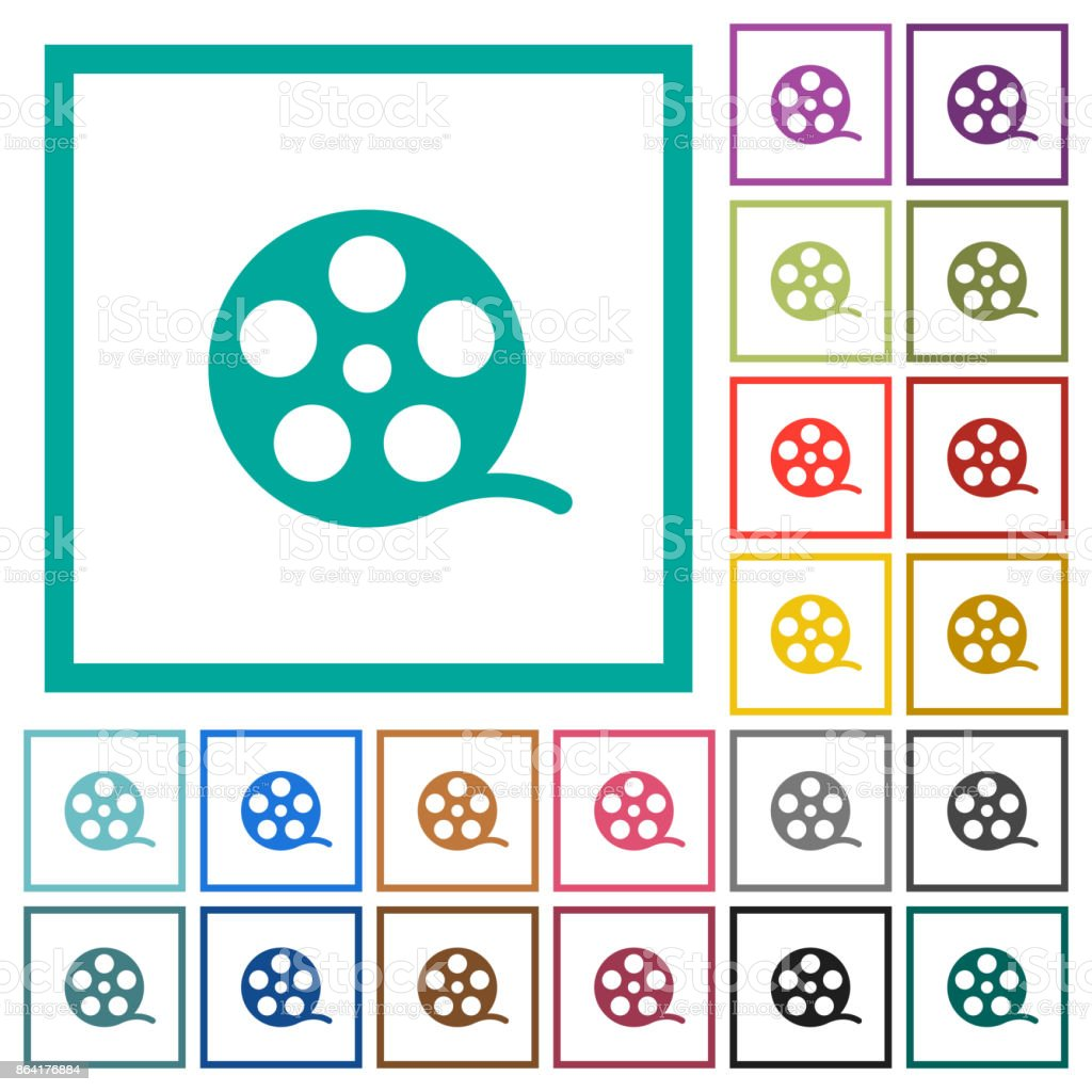 Movie roll flat color icons with quadrant frames royalty-free movie roll flat color icons with quadrant frames stock vector art & more images of analog