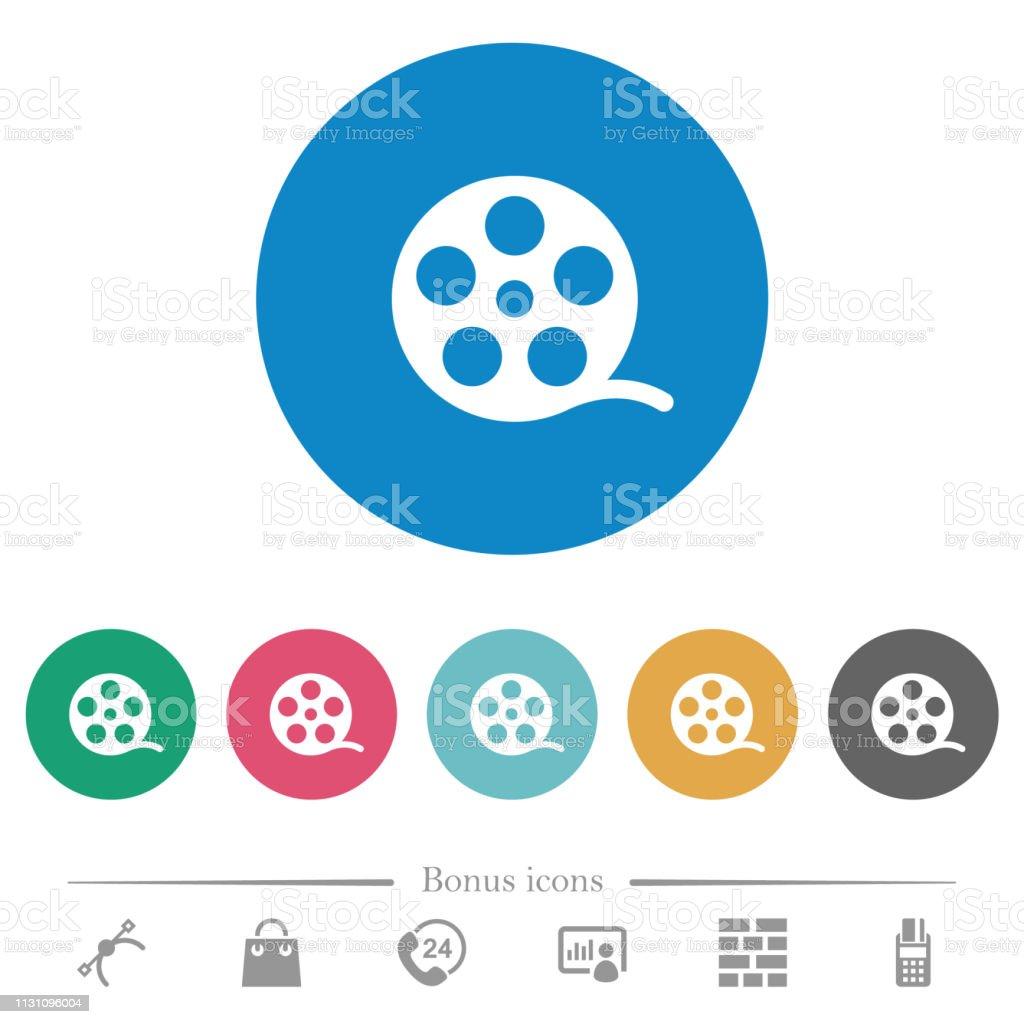 Фильм ролл плоские круглые значки - Векторная графика Аналог роялти-фри