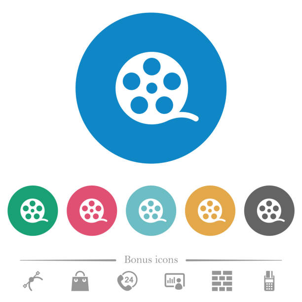 movie roll flat round icons - video call stock illustrations