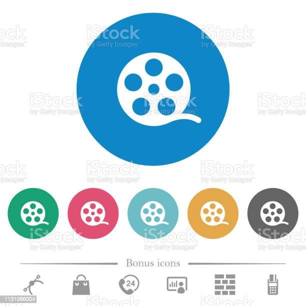 Фильм Ролл Плоские Круглые Значки — стоковая векторная графика и другие изображения на тему Аналог