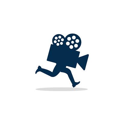 Movie Running Logo Template Design Vector, Emblem, Design Concept, Creative Symbol, Icon